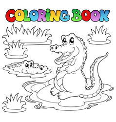 coloring book with two crocodiles vector image