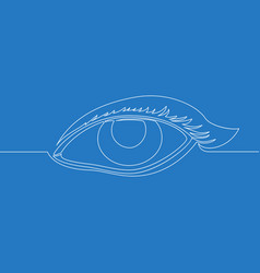 continuous one line drawing female watch eye icon vector image