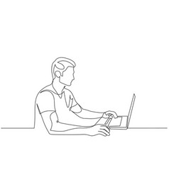 continuous one line man working on a laptop vector image