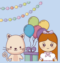 Cute cat with little girl happy birthday card vector