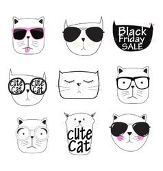 Cute Handdrawn Cat Set vector image