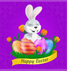 cute smiling easter bunny with painted eggs on vector image