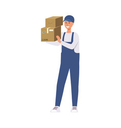 delivery man in blue courier uniform holding stack vector image