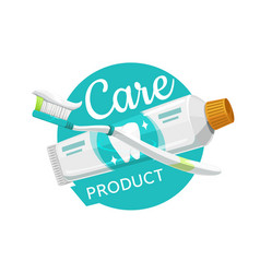 dental care products tooth brush and paste icon vector image