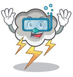 diving thunder cloud character cartoon vector image