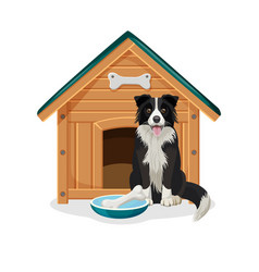 Dog sits beside wooden doghouse and bowl with bone vector