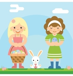 Easter girls with bunny basket egg icon sky vector image