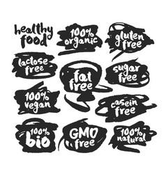 Eco vegan food labels set on scribbles vector