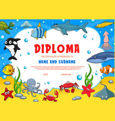 Education diploma for school underwater animals vector