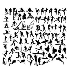 extreme sports silhouettes vector image