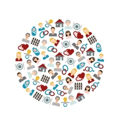 family flat icons in circle vector image