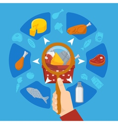 Food Supermarket Lens In Hand Round Composition vector