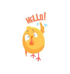 funny cartoon comic chicken with phrase hello vector image