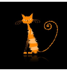 Funny orange wet cat for your design vector image