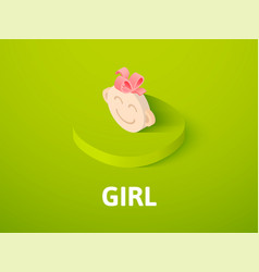 Girl isometric icon isolated on color background vector