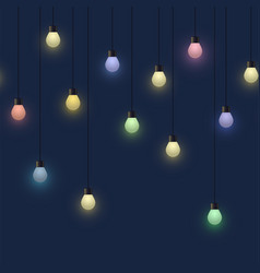 Glowing colorful bulb garland decorative light vector