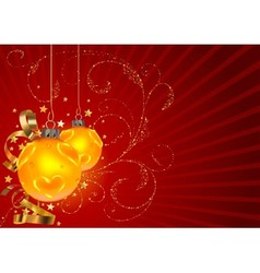 Gold Christmas Balls And Floral vector image