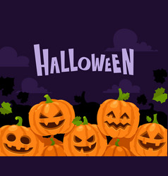 halloween pumpkin border scary pumpkins in witch vector image