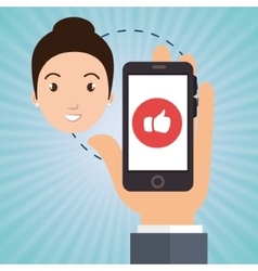 Hand smartphone woman media vector