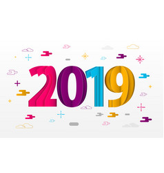 happy new year 2019 paper greeting card vector image