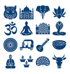 India national symbols silhouette icons set vector