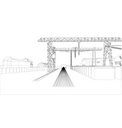 industrial zone with buildings and cranes vector image