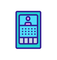 Intercom with display icon outline vector