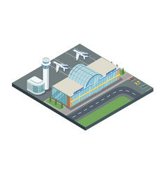 isometric building of airport with planes vector image