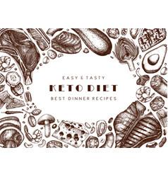 Ketogenic diet background hand drawn organic food vector