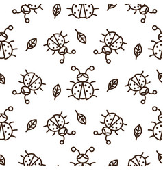 ladybug and outline leaves on white seamless vector image