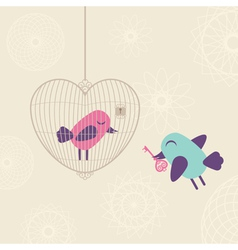 Love cage with birds vector