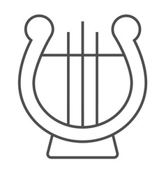 lyre thin line icon musical and ancient harp vector image