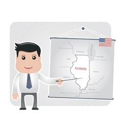 Man with a pointer points to a map of ILLINOIS vector