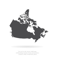Map canada isolated black on vector