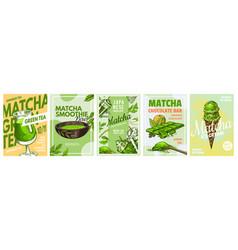 matcha green tea poster healthy milk latte vector image