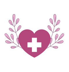 medical heart branch nature isolated icon style vector image