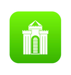 Medieval palace icon digital green vector