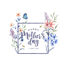 mothers day watercolor flower frame card vector image