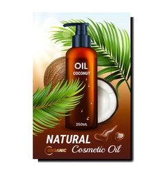 Natural cosmetic oil promotional banner vector