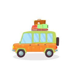 orange green colored car with suitcases on roof vector image