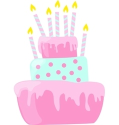 Pink anniversary cake with candles decorations in vector