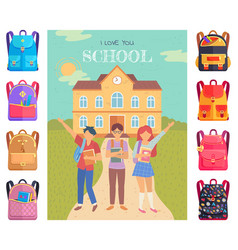 pupils with backpacks in front school building vector image