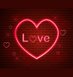 red love symbol in neon light valentine vector image