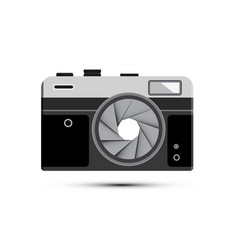 retro mirrorless photography camera symbol with vector image