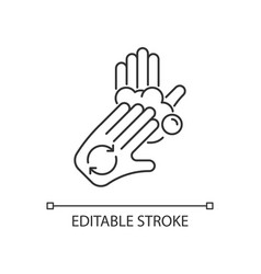 Rub palms with fingers linear icon vector
