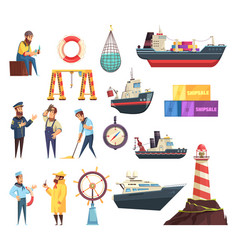 sailors and ships nautical set vector image
