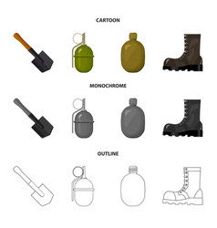 sapper blade hand grenade army flask soldier vector image