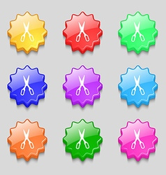 Scissors icon sign symbol on nine wavy colourful vector