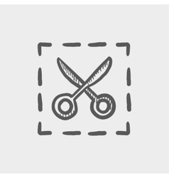 Scissors with cut lines sketch icon vector image