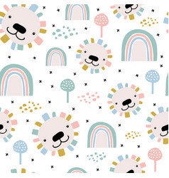 Seamless pattern with cute hand drawn lion faces vector